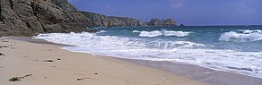 breakers at porthcurno beach