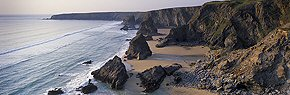 classic view of bedruthan steps
