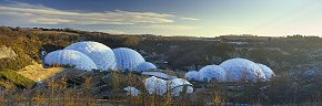 dawn rays on the eden project